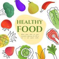 Rahmen mit biologischem gesundem vegetarischem Essen vektor