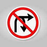 ingen sväng höger eller u sväng höger trafik vägskylt vektor