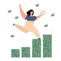 glückliche Frau, die auf Geldgraphillustration klettert vektor