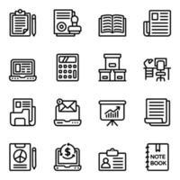 kontorsutrustning linjära ikoner vektor