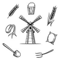 handgezeichnete Illustrationen des Bauernhofwindmühlensatzes vektor