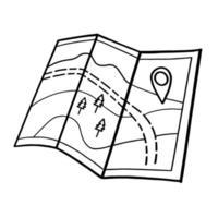 touristische Straßenkarte. Lager Vektor-Illustration in der Gekritzel-Stil.Papierkarte lokalisiert auf einem weißen Hintergrund. vektor