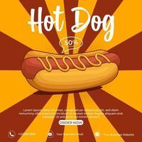 Hot Dog Anzeigen Poster Vorlage, leckeres Fast Food beste Wahl. Hotdog-Banner für die Werbung. vektor