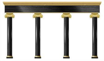 gyllene klassiska båge portal och kolumner vektor