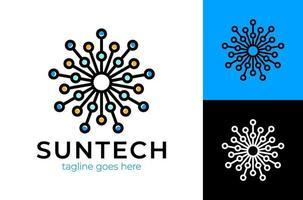 Sun Tech Logo. einfaches elegantes Kreistechnologie-Verzierungslogo für Markenidentität. Vektorbild. vektor