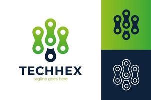 Abstraktes Logo der Sechseckknoten. Technologie sechseckiges Logo, modern, minimalistisch, futuristisch, Vektor-Logo-Vorlage vektor