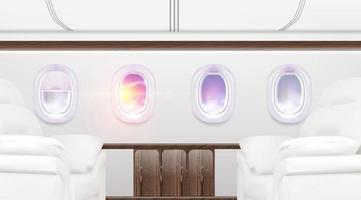 Flugzeugfenster Banner. Flugzeuginnenreiseplakat, Sommerhimmel im Flugzeug Bullauge, Personentransport. Vektor Reisen Illustration Hintergrund über Business Class