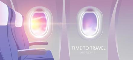 Zeit zu reisen. Blick von Flugzeugwerbung Dienstleistungen Design-Website für Reisen. Vektorillustration. vektor
