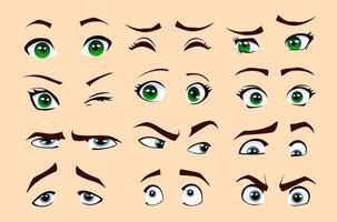 Männer und Frau Emotionen isoliert Vektor Augen und Augenbrauen Silhouette, Gesichtsteile.