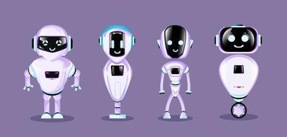 Gruppe der modernen Roboter isolierte Hintergrund niedliche Zeichentrickfigur. Vektorillustration. vektor