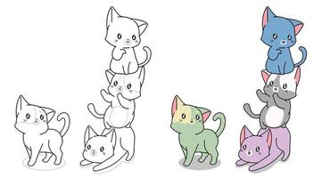 freche Katzen mit Bogen Cartoon Malvorlagen vektor