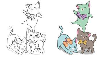 Katzen mit Bogen Cartoon Malvorlagen vektor