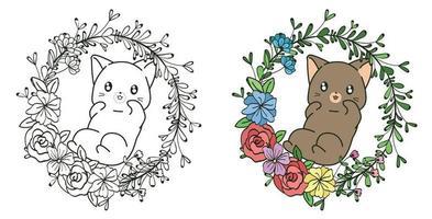 freche Katze mit Weinrebenblumen-Cartoon-Malvorlagen vektor