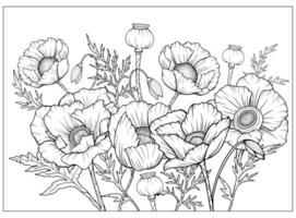 Malvorlage mit Mohn und Blättern. Vektorseite zum Ausmalen. Blume Malvorlagen. Blumenmuster. Umriss Mohnblumen. Schwarz-Weiß-Seite zum Ausmalen. Anti-Stress-Färbung. Strichzeichnungen Blumen vektor