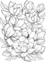 Malvorlage mit Magnolie und Blättern. Vektorseite zum Ausmalen. Blume Malvorlagen. Umriss Magnolie. Schwarz-Weiß-Seite zum Ausmalen. Anti-Stress-Färbung. Strichzeichnungen Blumen vektor