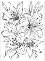 Malvorlage mit Lilien und Blättern. Vektorseite zum Ausmalen. Blume Malvorlagen. Blumenmuster. Umrisslilie. Schwarz-Weiß-Seite zum Ausmalen. vektor