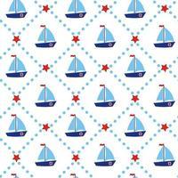 nahtloses Muster des Bootes mit roten Sternen und Streifen nautischer maritimer Yachtschattenbild geometrischer blauer Druck für Babyparty-Scrapbooking-Stoffkarten vektor