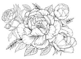 Malvorlage mit Pfingstrosen und Blättern. Vektorseite zum Ausmalen. Blumen Malvorlagen. Blumenmuster. Umriss Pfingstrosen. Schwarz-Weiß-Seite zum Ausmalen. vektor