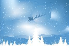 Santa in einer verschneiten Nacht vektor