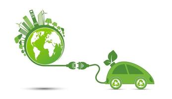 Energieideen retten das Weltkonzept Power Plug Green Ecology recyceln vektor