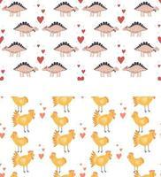 Set nahtlose Muster Vektor-Illustration Kinderzimmer niedlichen Druck mit Hühnern und Herzen und mit Dinosauriern glücklichen Valentinstag 14. Februar vektor