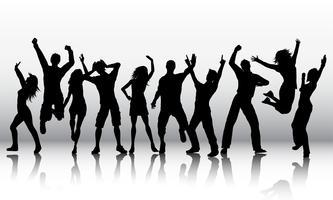Silhouetten von Menschen tanzen vektor
