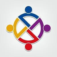 Gruppe Menschen Logo Handschlag in einem Kreis, Teamwork icon.vector Illustrator vektor