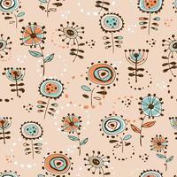 nahtloses Muster mit niedlichen Blumen im Gekritzelstil. vektor