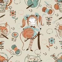 häkeln. nahtloses Muster. süße Nadelfrau mit einer Häkelnadel. vektor