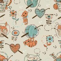häkeln. nahtloses Muster mit niedlichen Katzen, Wollknäueln und Strickzubehör. vektor