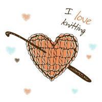 ein gestricktes Herz mit einer Häkelnadel. Ich liebe es zu stricken. vektor