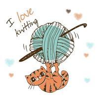 süßes Kätzchen, das mit einem Wollknäuel spielt. Ich liebe es zu stricken. vektor