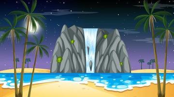 tropische Strandlandschaft bei Nachtszene mit Wasserfall vektor