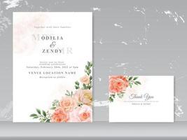 schöne Hochzeitskarte Set Rosen Design vektor