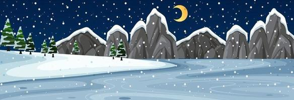 Schneehorizontalszene mit Berglandschaft bei Nacht vektor