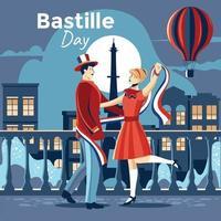 Paar feiert Bastille Tag vektor