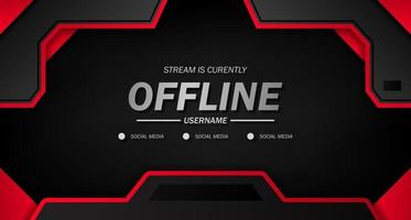 offline für Spiele oder Live-Streaming mit schwarzem Hintergrund sportlich mit roter Linie vektor