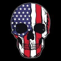 Vektorschädel mit amerikanischem Flaggenmuster vektor