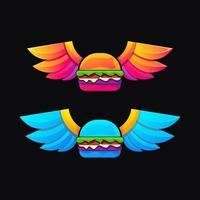 bunte Farbverlaufsstil-Logoillustration des fliegenden Burgers vektor