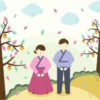 Koreanska paret Chuseok Vector