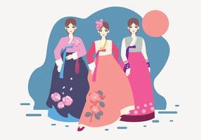 Dame In Hanbok Vektor