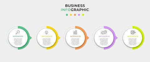 Vektor-Infografik-Design-Geschäftsvorlage mit Symbolen und 5 Optionen oder Schritten. Kann für Prozessdiagramme, Präsentationen, Workflow-Layout, Banner, Flussdiagramm und Infografik verwendet werden vektor