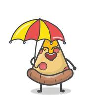 niedliche Pizza Charakter Maskottchen flache Cartoon Emoticon Vektor Design Illustration
