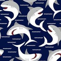 Nahtloses Muster des wütenden Hais. Hand gezeichnete Illustration des Meereslebens. Druck für Kinderkleidung. vektor