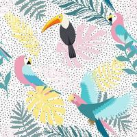 Blumenhintergrund mit tropischen Blättern, Tukan und Papageien. Vektor nahtloses Muster für stilvolles Stoffdesign.