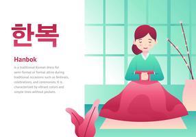 Dame In Hanbok Zeichentrickfigur vektor