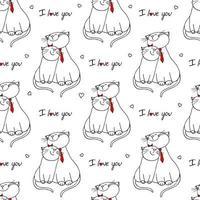 nahtloses Muster mit verliebten Katzen. Vektor-Illustration Charakter Design Paar Katze verliebt sich in und Herz für Valentinstag. Gekritzel-Cartoon-Stil. vektor