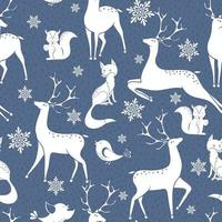 nahtloses Wintervektormuster mit Schneeflocken, Hirsch, Fuchs und Vogelvogel. Kann für Tapeten, Musterfüllungen, Oberflächenstrukturen und Stoffdrucke verwendet werden. vektor