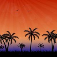 tropische Sommerhintergründe mit Palmen, Himmel, Sonnenuntergang und Möwe. Sommerplakatplakat-Flyer-Einladungskarte. Sommer. vektor