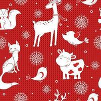 nahtloses Wintervektormuster mit Schneeflocken, Hirsch, Fuchs, Vogel und Kuh. Kann für Tapeten, Musterfüllungen, Oberflächenstrukturen und Stoffdrucke verwendet werden. vektor